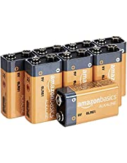 AmazonBasics 9 Volt Everyday Alkaline Batteries, 8ct