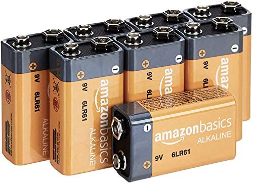 AmazonFundamentals 9 Volt Everyday Alkaline Batteries - Pack of 8
