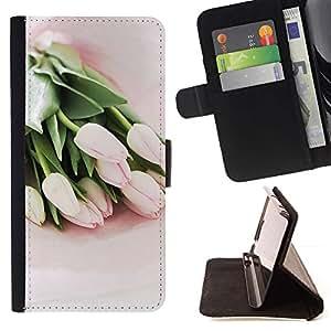 For Sony Xperia Z3 D6603 Case , Tulipanes de la acuarela verde Flores rosadas- la tarjeta de Crédito Slots PU Funda de cuero Monedero caso cubierta de piel
