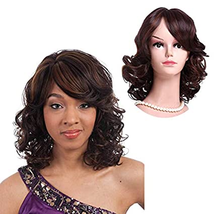 WSC Postizos Peluca europea y americana peluca corta de pelo rizado para el pelo corto flequillo
