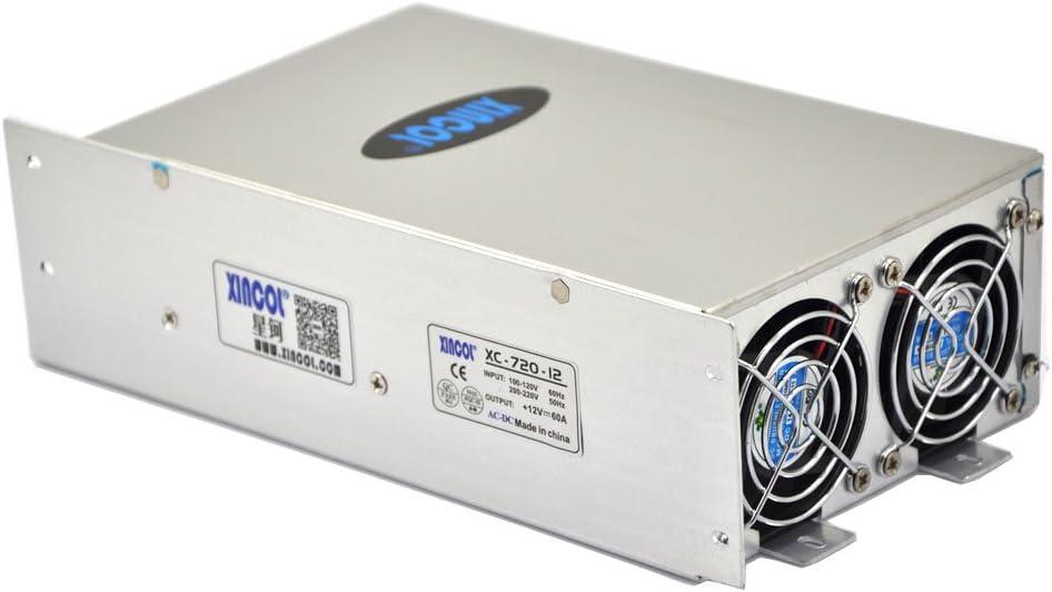 XINCOL 12V 60A 720W Transformador de Potencia, Transformador de Voltaje, Fuente de Alimentación para la Tira de LED