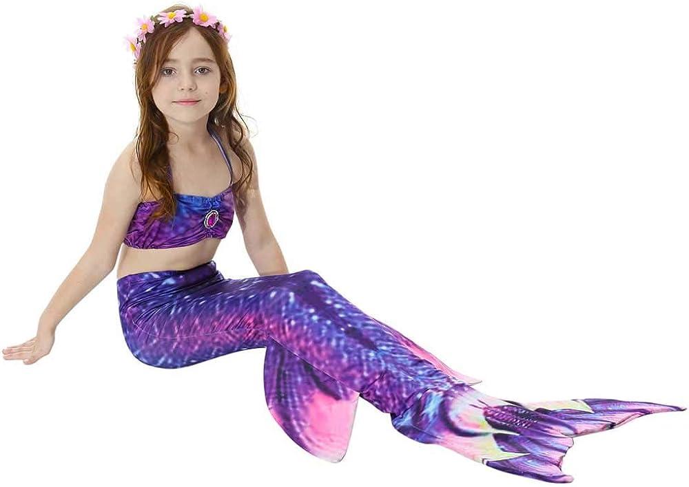 Girls Mermaid Tail for Swimming Costume Bikini and Mermaid Dress Swimsuit Set