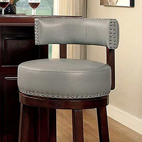 Shirley Contemporary 360 Degree Swivel 24 Barstool With Pu Cushion Gray Finish