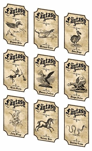 Halloween fantasy 9 apothecary bottle laminated stickers labels party decoration ready to -