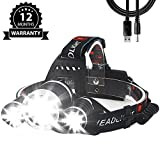 CM-Light Led Headlamp Rechargeable Waterproof Camping Gear Head Lamp Dimmable USB Super Bright 5000 Lumens for Outdoor Hunting Fishing Cycling Running Sports Camping