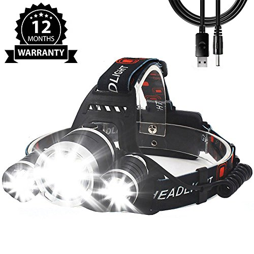 LED Headlamp Rechargeable,Waterproof Camping Gear Dimmable Head Lamp USB 18650 Batteries Brightest Headlight 5000 Lumens 4 Modes Flashlight for Outdoor Hunting Fishing Cycling Running Sports Adventure