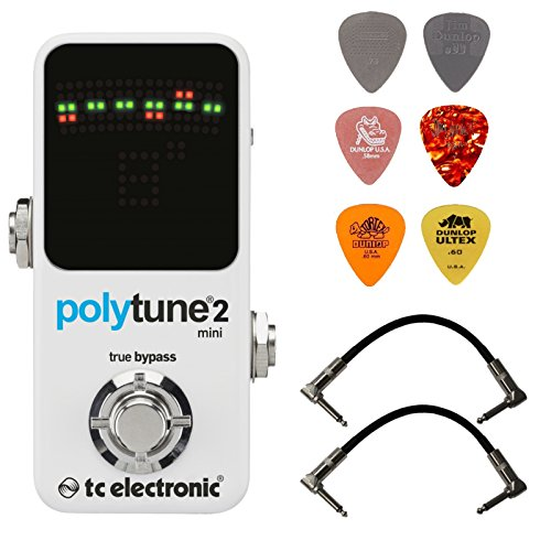 TC Electronic Polytune 2 Mini Polyphonic Pedal Tuner Bundle with 2 Patch Cables and 6 Assorted Dunlop Picks by TC