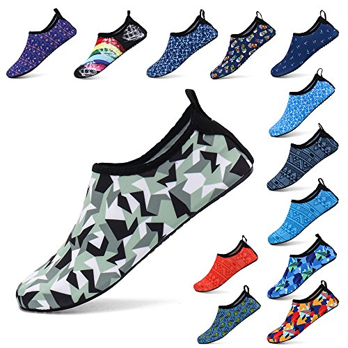 Zefani Unisex Quick Drying Summer Outdoor Water Shoes Aqua Socks for Beach Swim Surf Yoga Exercise3D/Army Green S
