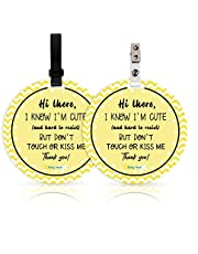No Touching Newborn Baby Car Set Sign or Stroller Tag, Do Not Touch Baby Sign for Baby Girl Boy, Baby Preemie Gender Neutral No Touch Safety Sign with Hanging Straps and Clip (2 Pack Set)