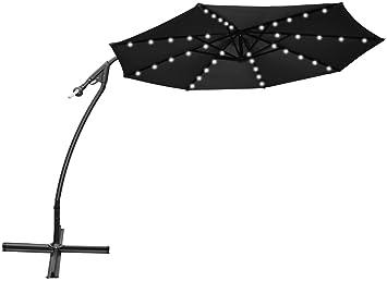 strong camel 9 cantilever solar 40 led light patio umbrella outdoor garden aluminium market - Black Patio Umbrella