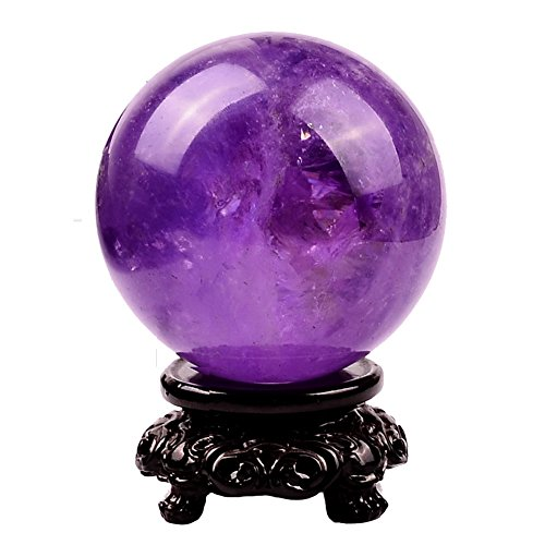 - MIKINI Carved Cat's Eye Stone Ball Orb Sphere 60mm (2.4 In.) Statue Figurine with Wooden Stand (Natural Violet Amethyst - 50mm)
