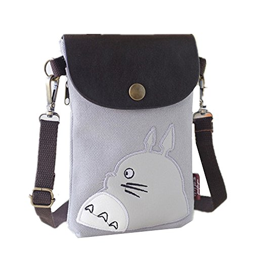 Abaddon Canvas Small Cute Crossbody Cell Wallet Bag Phone Purse with Shoulder Strap (silver totoro) (Totoro Phone Strap)
