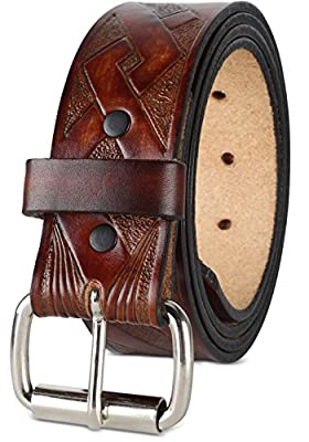 """Men's Top Grain Western leather Belt, easy to change Roller buckle,1.5"""" wide,Made in USA"""