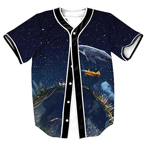 HOP FASHION Youth Unisex Hipster Baseball Basketball Football Jersey Short Sleeve 3D Colorful City Galaxy Print Dance Team Uniform Button Down Cardigan Shirt HOPM007-58-S