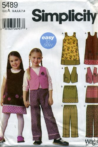 Simplicity Sewing Pattern 5489 Child Separates, A (3-4-5-6-7-8) - Pattern Girls Jumper