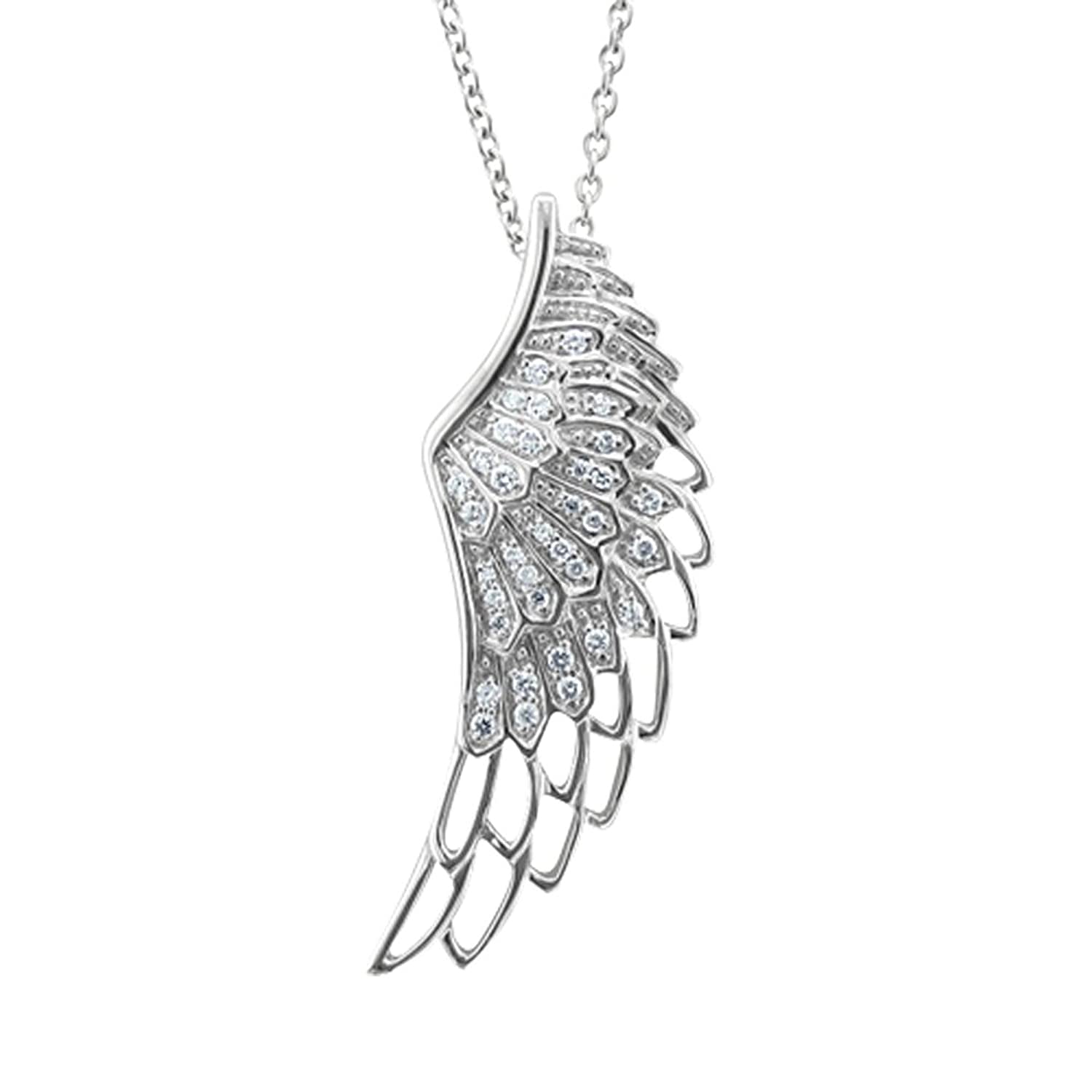 itm necklace wings ebay chain long angel silver wing s guardian crystal large pendant