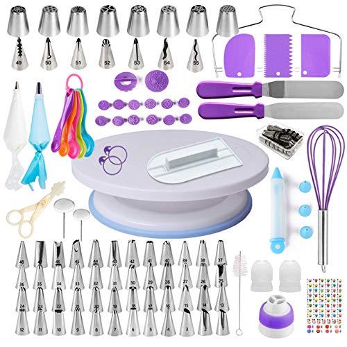 Cake Decorating Supplies Kit voor beginners, Set van 137, Baking Pastry Tools, 1 Draaitafel stand-55 Genummerde Icing…