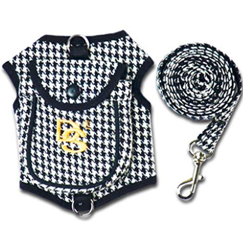 Stock Show 1Pc Dog Cat Vest Harness with Pocket and Matching Leash Set, Dog Cat Walking Trainning Classic Houndstooth Style Hareness Pet Clothes Accessory for Small Medium Dogs Puppy Cats, Black