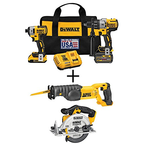 DEWALT FLEXVOLT 60-Volt and 20-Volt MAX Lithium-Ion Cordless Brushless Combo Kit (2-Tool) with Bonus Circular and Recip (Cordless Recip Saw Kit)