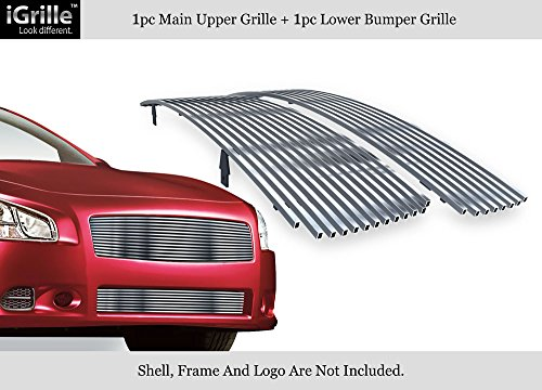 APS Stainless Steel Billet Grille Combo Fits 2009-2014 Nissan Maxima Chrome Polished #N19-S47778N