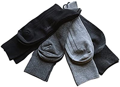 Calvin Klein Men's Dress Socks 4 Pack Ribbled Grey Black