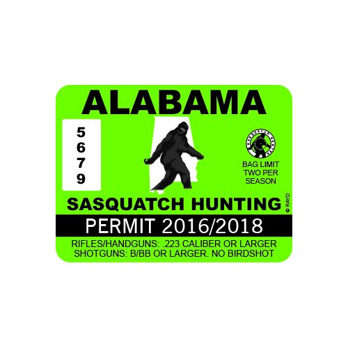 RDW Alabama Sasquatch Hunting Permit - Color Sticker - Decal - Die Cut