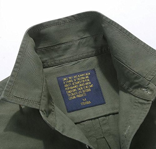 Men's Button Sleeve Shirt Cargo UK Cotton Military Casual today Green Style Army Long Down 45W01H1