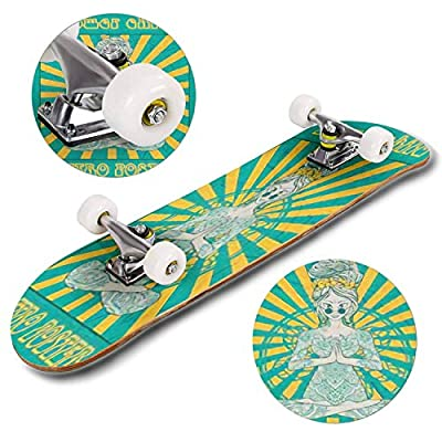 Classic Concave Skateboard Hippie Style Ornamental Retro Background Love and Music with Hand Longboard Maple Deck Extreme Sports and Outdoors Double Kick Trick for Beginners and Professionals : Sports & Outdoors
