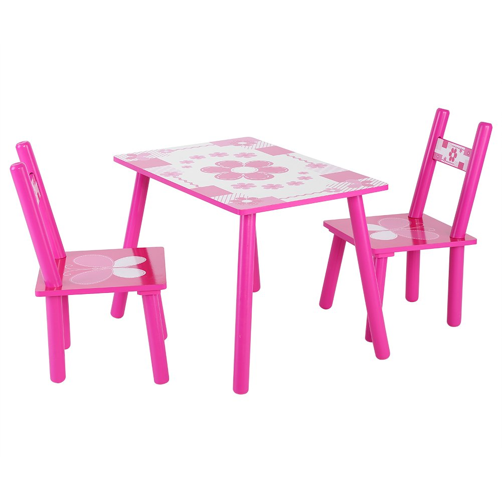 Kid Table Chair Set, Children Wooden Play Studying Learning Activity Table and Chair Set Childs Painting Desk with 2 Chairs Set and Pink Flower Printed Toddler Dining Table Chair Zerone