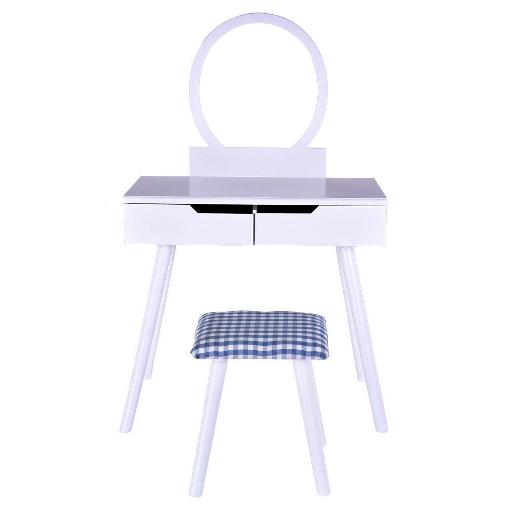 Hopeg Home Furniture for Girl/Women Adjustable Makeup Desk Combination - with Mirror & Soft Cushioned Chair No backrest Drawer Stool Dressing Table Vintage Wooden Table