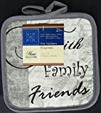 The Pecan Man Home Collection FAITH FAMILY FRIENDS Linen Everyday Kitchen Set of 2 Potholders