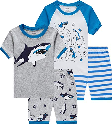 Pajamas for Boys Toddler Kids Shark 4 Pieces Short PJs Set Children Cotton Striped Sleepwear 4t