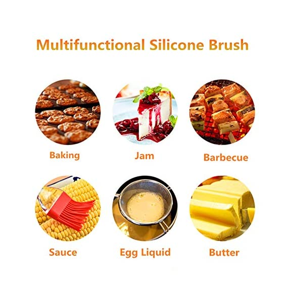 Pankia Go Food Grade Silicone Basting Brush BBQ Oil Bottle Kit Barbecue, Frying, Salad, Baking Collapsible Funnel Cleaning Brush, Set of 8 6 【Great Cooking Kit】The package including 3pcs silicone oil bottle, 3pcs silicone brushes, 1pcs collapsible funnel, 1pcs cleaning brush. Intimate kitchen sets are suitable for various cooking needs. 【Safety and Health】100% food grade silicone material, BAP free, FDA approved and eco-friendly. 【Multifunctional Kitchen Tools】Easy to use and clean, easy to bast on a variety of liquid sauce, marinade with oil, butter, sauces, jam,water for cooking. It is suitable for baking cakes, brush jams, brush honey water, barbecue, steak brush oil and so on.