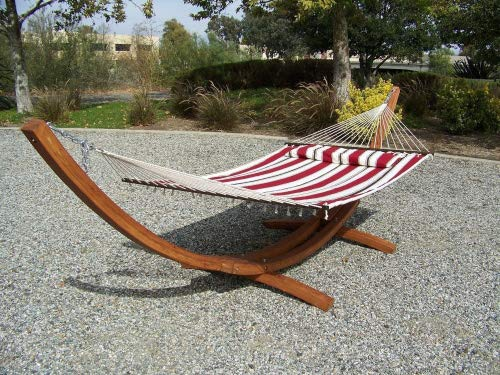 Petra Leisure 14 Ft. Wooden Arc Hammock Stand + Deluxe Quilted Double Padded Hammock Bed w/Pillow. 2 Person Bed. 450 LB Capacity(Teak Stain/Elegant Red - Arc Hammock