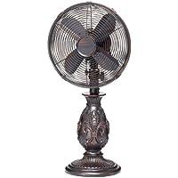 DecoBREEZE Oscillating Table Fan 3-Speed Air Circulator Fan, 10-Inch, Fleur De Lis