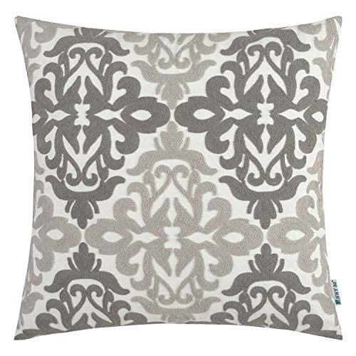 HWY 50 Grey Decorative Embroidered Throw Pillows Covers Cushion Cases for Couch Sofa Living Room Gray Farmhouse Floral Geometric 18x18 inch 1 Piece]()