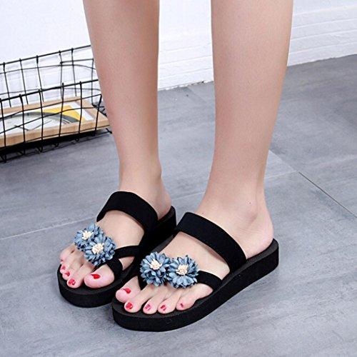 Zapatillas Cuña Baño Zapatillas Zapatos Flops Florales Mujeres Ouneed Flip de Verano Playa Gris Plataforma Wqz7c8ZUw