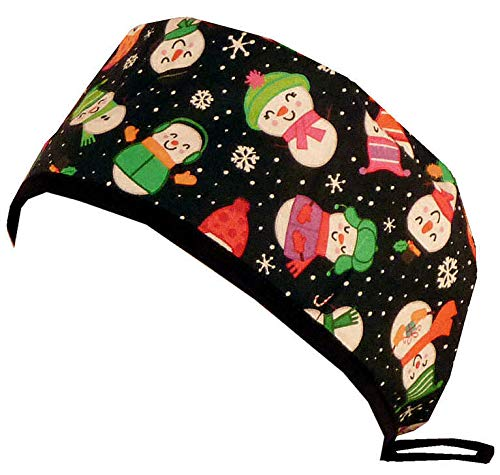 Happy Snowmen w//Black Ties Mens and Womens Surgical Scrub Cap