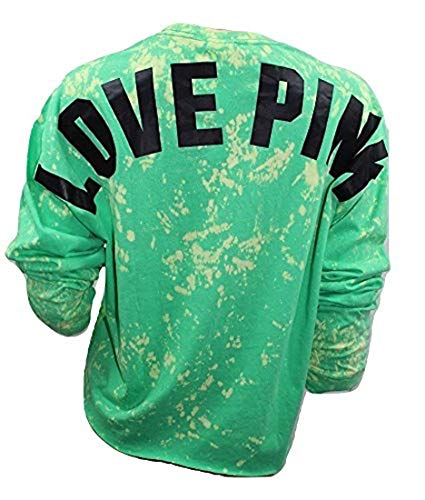 Pink Campus Cropped Long Sleeve V-Neck Tee Tie Dye Green Small NWT