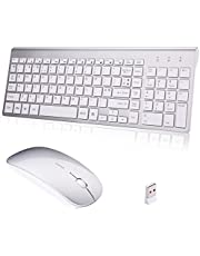 Wireless Keyboard and Mouse combo,Full Size & Ultra Thin Compact Keyboards and Mouse (UK layout) for Laptop Notebook Mac PC Computer Windows OS Android