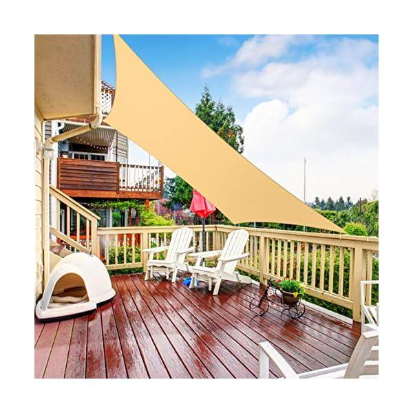 RATEL Sonnensegel Sand 3 × 3 m Rechteck, wasserdicht Windschutz mit 95% UV Schutz Sonnenschutz für Draußen, Patio…