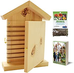 Living Bee Habitat - Watch Them Grow - Mason Bee House Hive (Observation Window) + Wildflower Seeds + Quick Start eBook - Ideas for Gardening Gifts, Gifts for Gardeners, Gardener Gifts