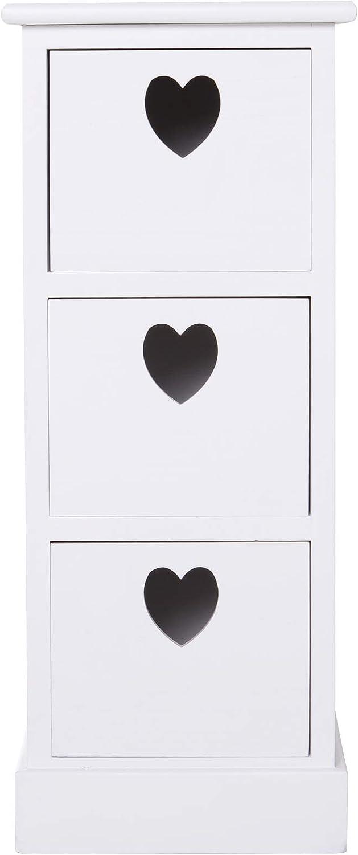homcom Set 2 Comodini Camera da Letto Bianco Vintage Cassettiera per Bagno con 3 Cassetti in Legno 25.5 /× 30 /× 62cm
