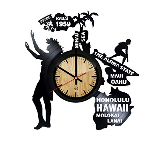 Hawaii Record Wall Clock - Get unique of living room wall decor - Gift ideas for girls and boys – The Aloha State Unique Art Design by Welcome Dzen Store
