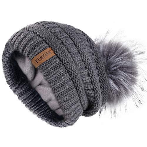 FURTALK Beanie Hat for Ladies Double Layer Fleece Line Winter Rib Knit Hats with Faux Fur Pom Pom Hat