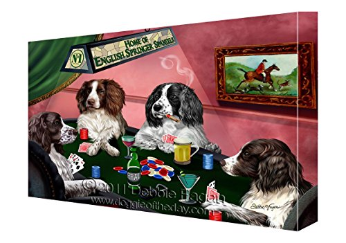 House of English Springer Spaniels Dogs Playing Poker Canvas (Springer Spaniel Dog House)