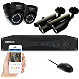 SANSCO CCTV Security Camera System with 8-Channel 1080N Smart DVR, 2 Bullet Cameras and 2 Dome Cameras (All HD 720p 1MP) Home Video Surveillance Kit, No HDD Included