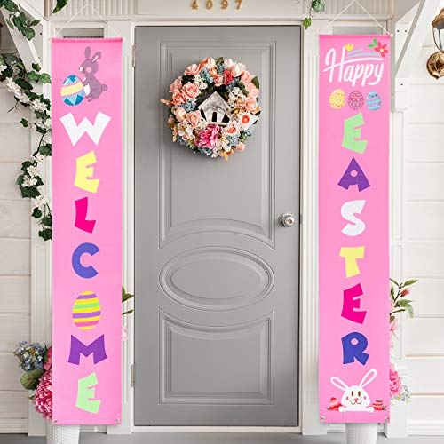 (Whaline Easter Porch Sign, Welcome Easter Hanging Banners for Outdoor Indoor Porch Decorations and Home Party Favor Ornament)