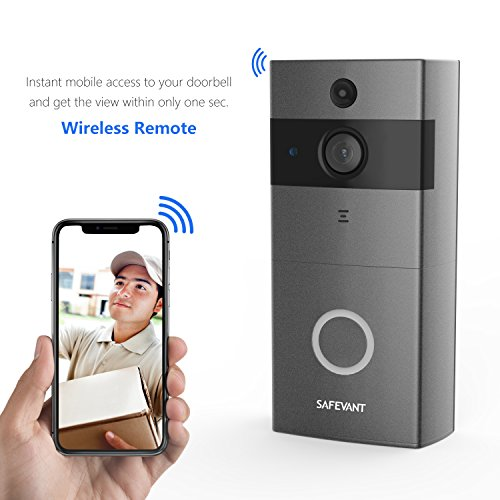 Video Doorbell, Safevant Wi-Fi Doorbell Camera 720P HD Home Security Camera with Two-Way Talk & Video,Infrared Night Vision,PIR Motion Detection Wireless Doorbell for iOS and Android Smart Phone by SAFEVANT
