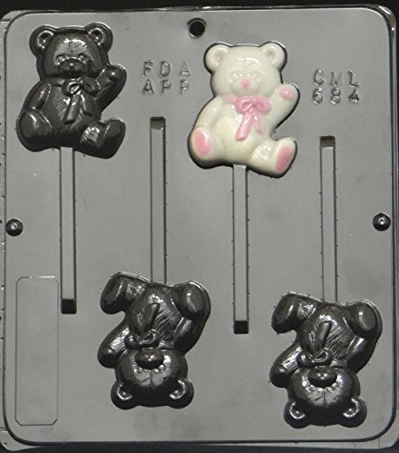 (Teddy Bear Lollipop Chocolate Candy Mold Baby Shower 684)